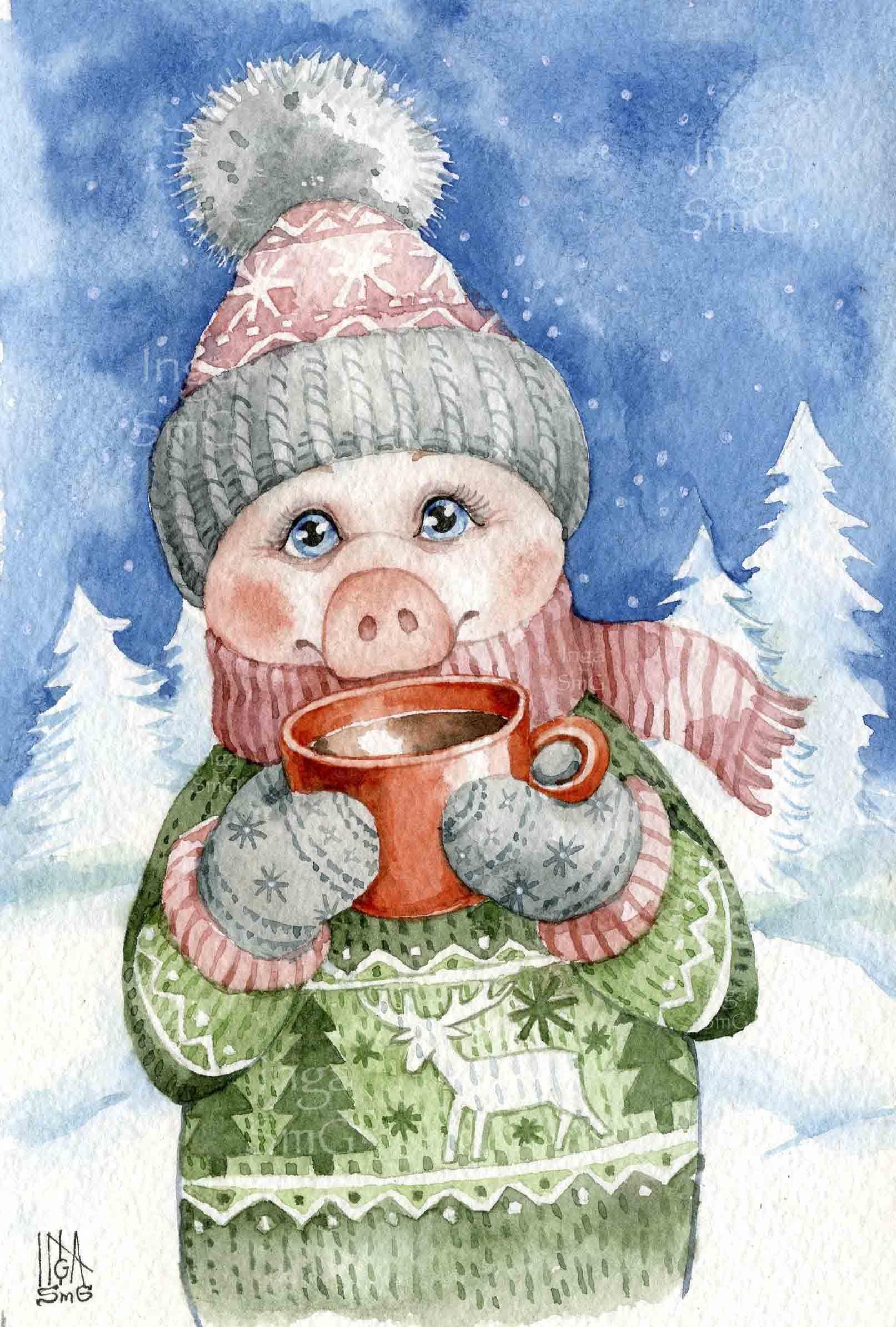 Цветами красивые, новогодние открытки зарисовки