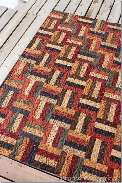 Rail fence with Kansas Troubles fabric | Quilt Love | Pinterest ... : fall quilt patterns free - Adamdwight.com