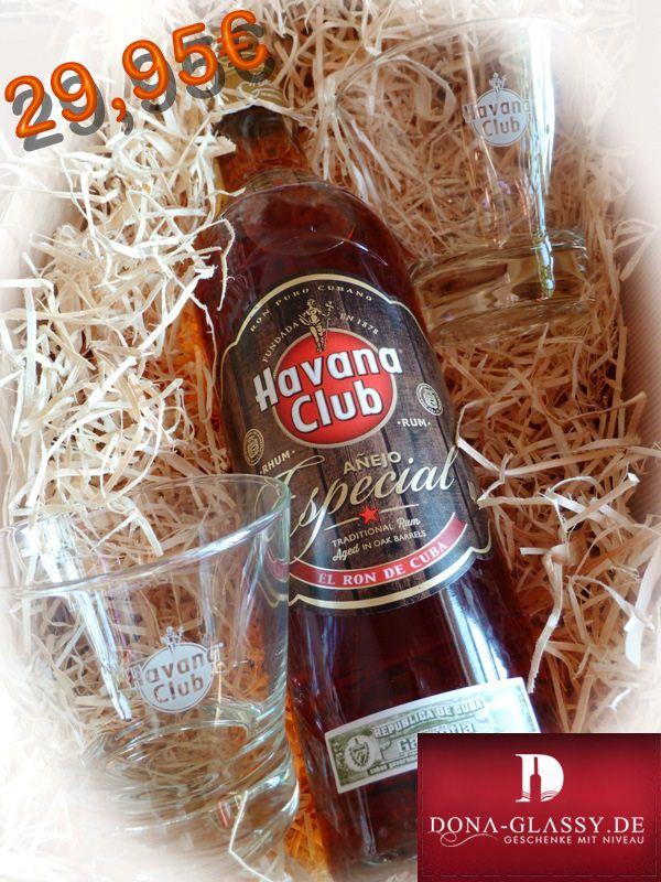 In diesem Geschenkset erhalten Sie den echten kubanischen Rum Havana Club Especial zusammen mit zwei original Havana Club Tumbler Gläser.