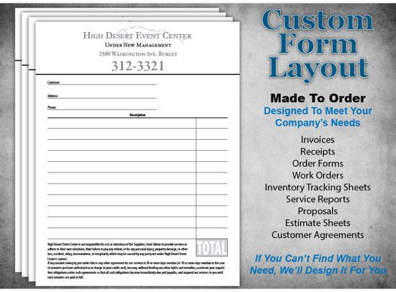 Custom Business Form Design Personalized Order Forms, Invoice - Service Forms In Pdf