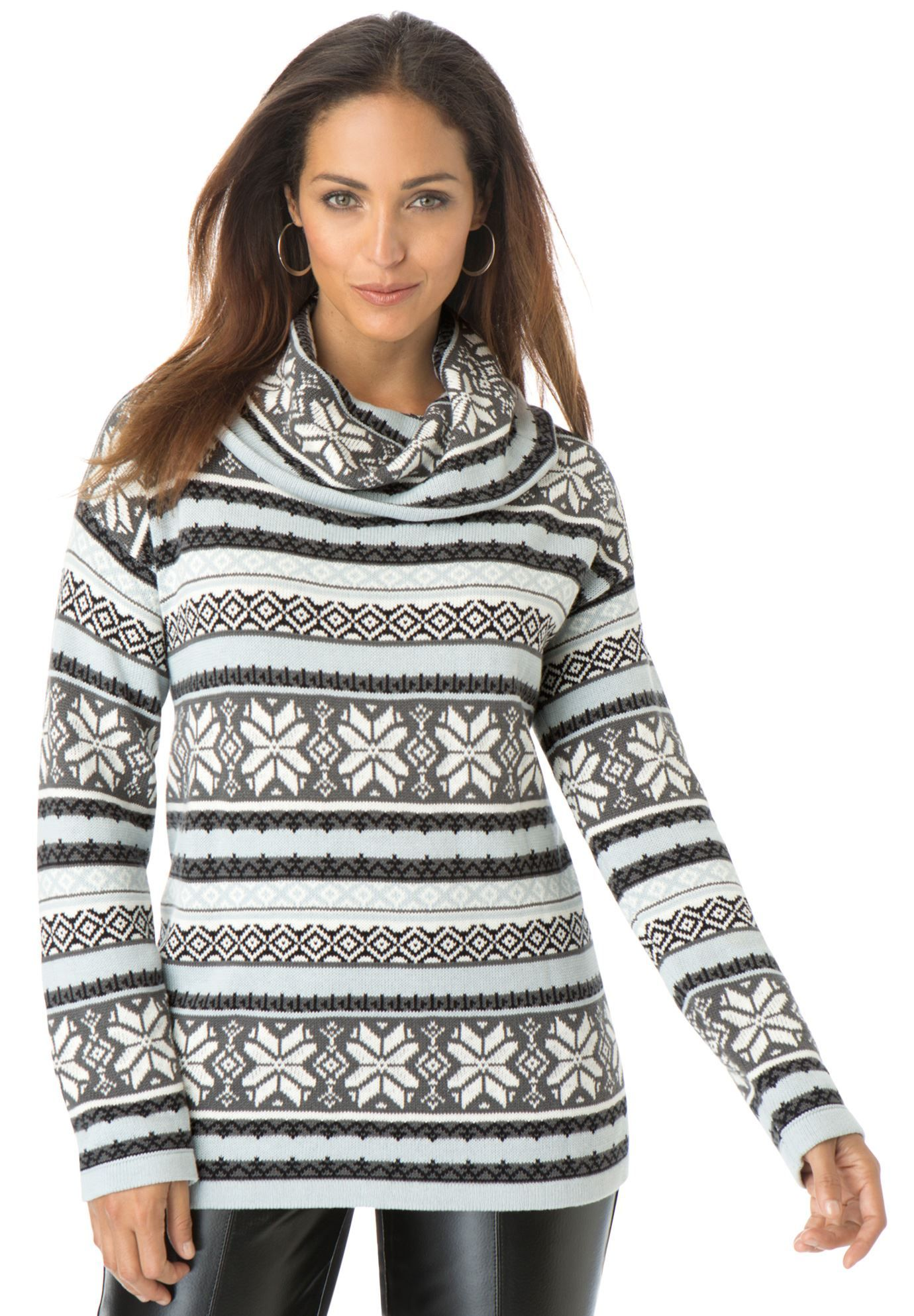 Fair Isle Funnel Neck Sweater | Plus Size Sweaters & Cardigans ...