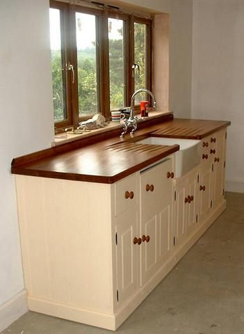 Stand Alone Kitchen Sink | Sink Unit With Integrated Dish Washer Old Pine  Sink Unit