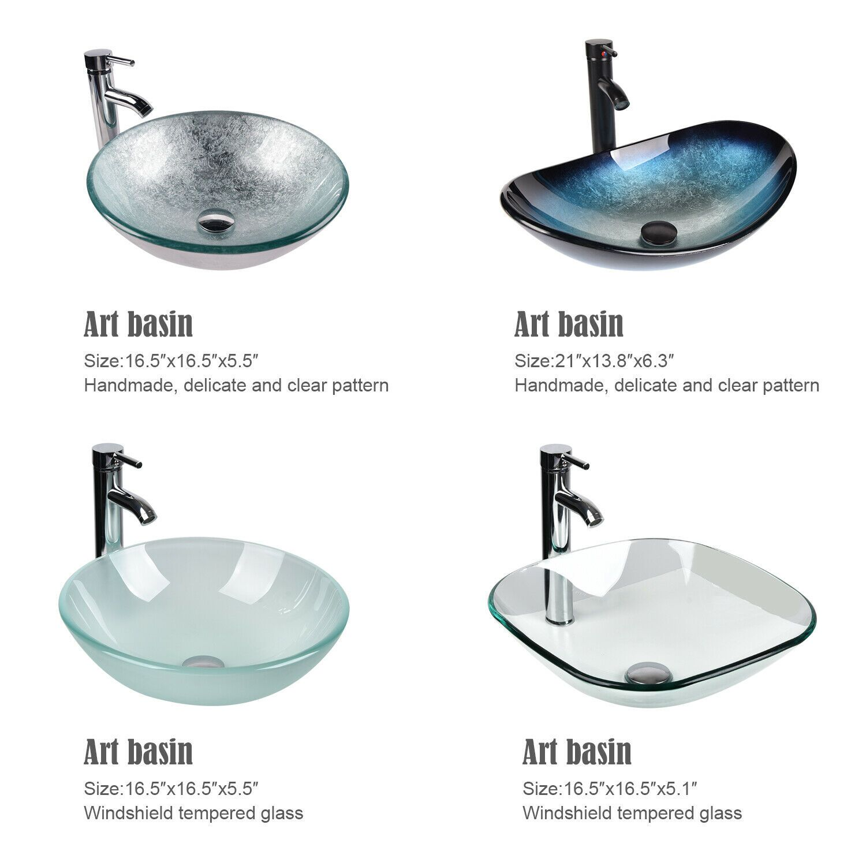 Tempered Glass Bathroom Vessel Sink Top Basin Faucet Pop Up Drain