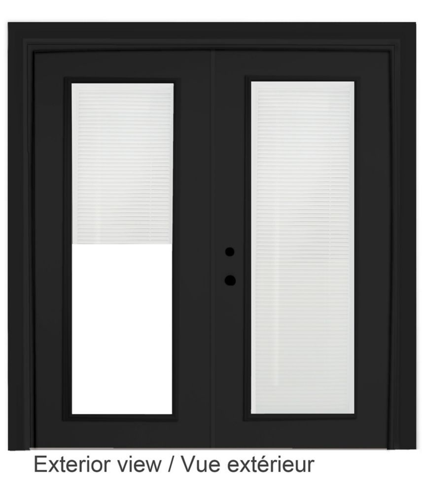 61 Inch X 82 375 Inch Clear Lowe Painted Black Right Hand Steel