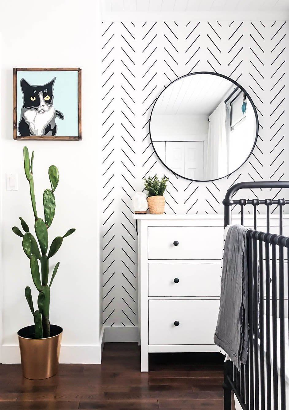Black Delicate Herringbone Wallpaper