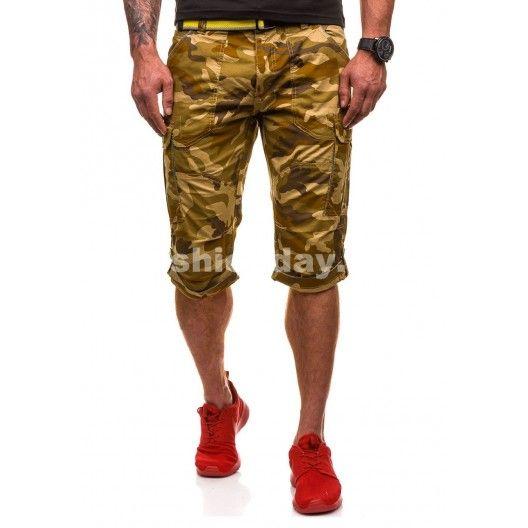 Štýlové hnedé šortky pre pánov s vreckami - fashionday.eu