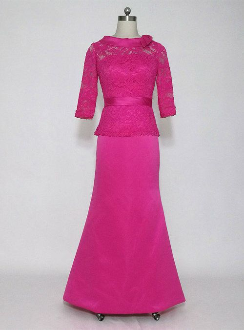 Modern Long High Neck 3/4 Sleeves Mother of the Bride Dresses Formal ...