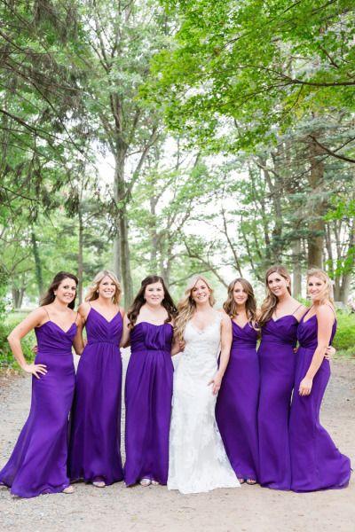 Elegant Massachussetts Restaurant Wedding Bright Purple Bridesmaid Dresses Purple Bridesmaid Dresses Bridesmaid