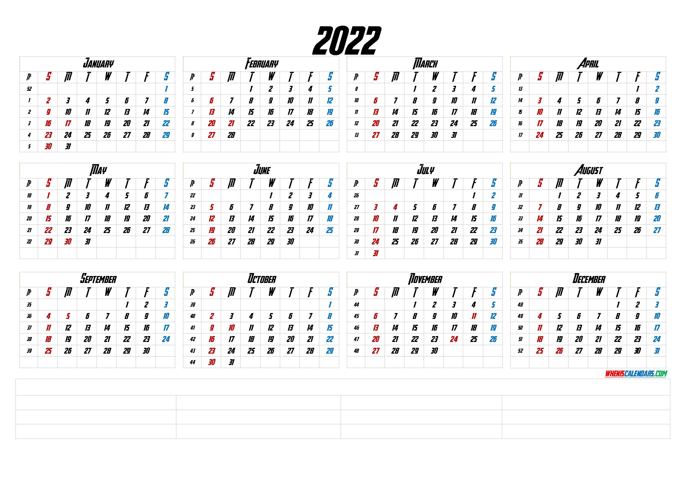 2022 Month Calendar.12 Month Calendar Printable 2022 6 Templates 12 Month Calendar Printable Calendar With Week Numbers Monthly Calendar Printable