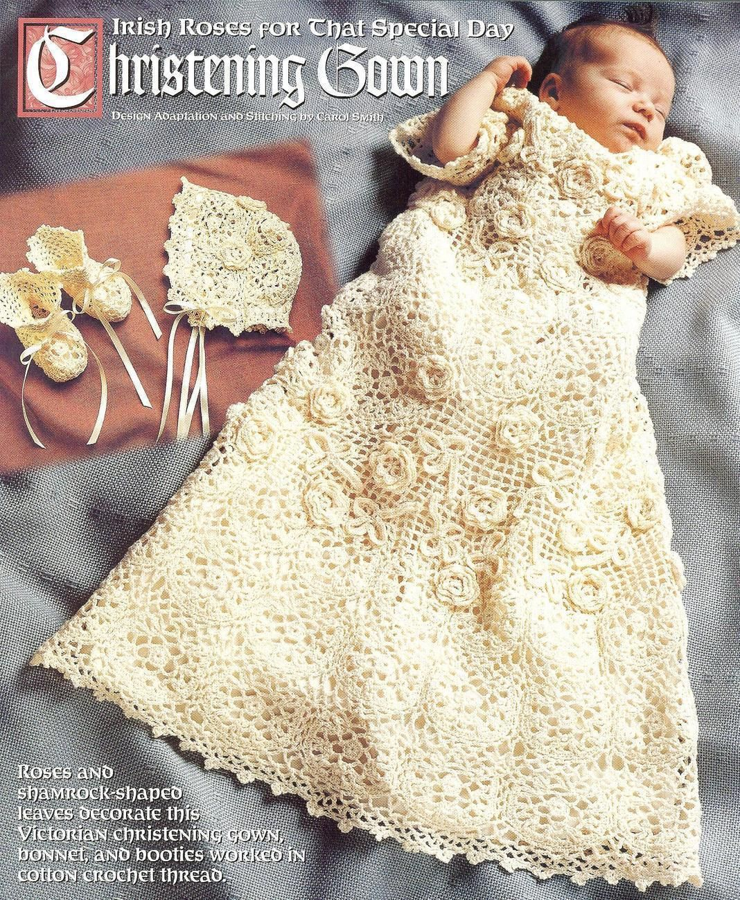 Baby Dress Crochet Pattern Victorian : Victorian irish rose christening set crochet pattern ...