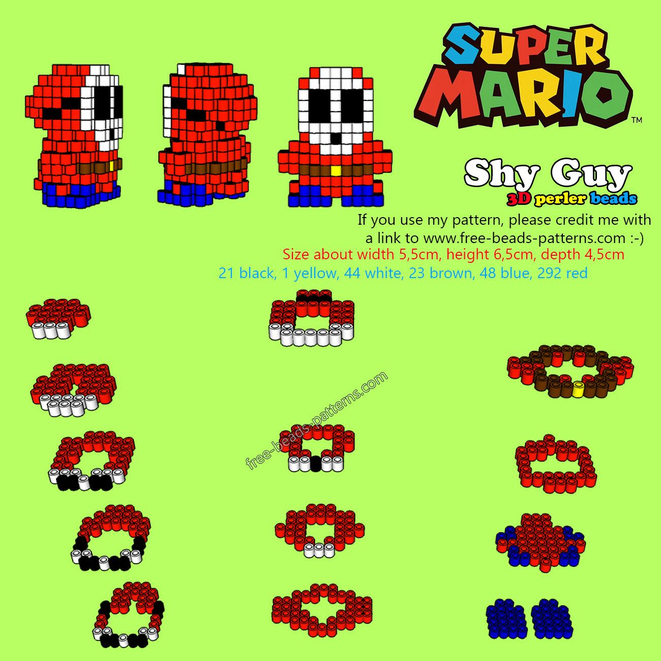 3D perler beads pattern Shy Guy from Super Mario | 3D Perler