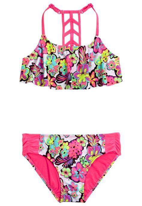 Floral Flounce Bikini Swimsuit In 2019 Girls Bathing Suits Cute