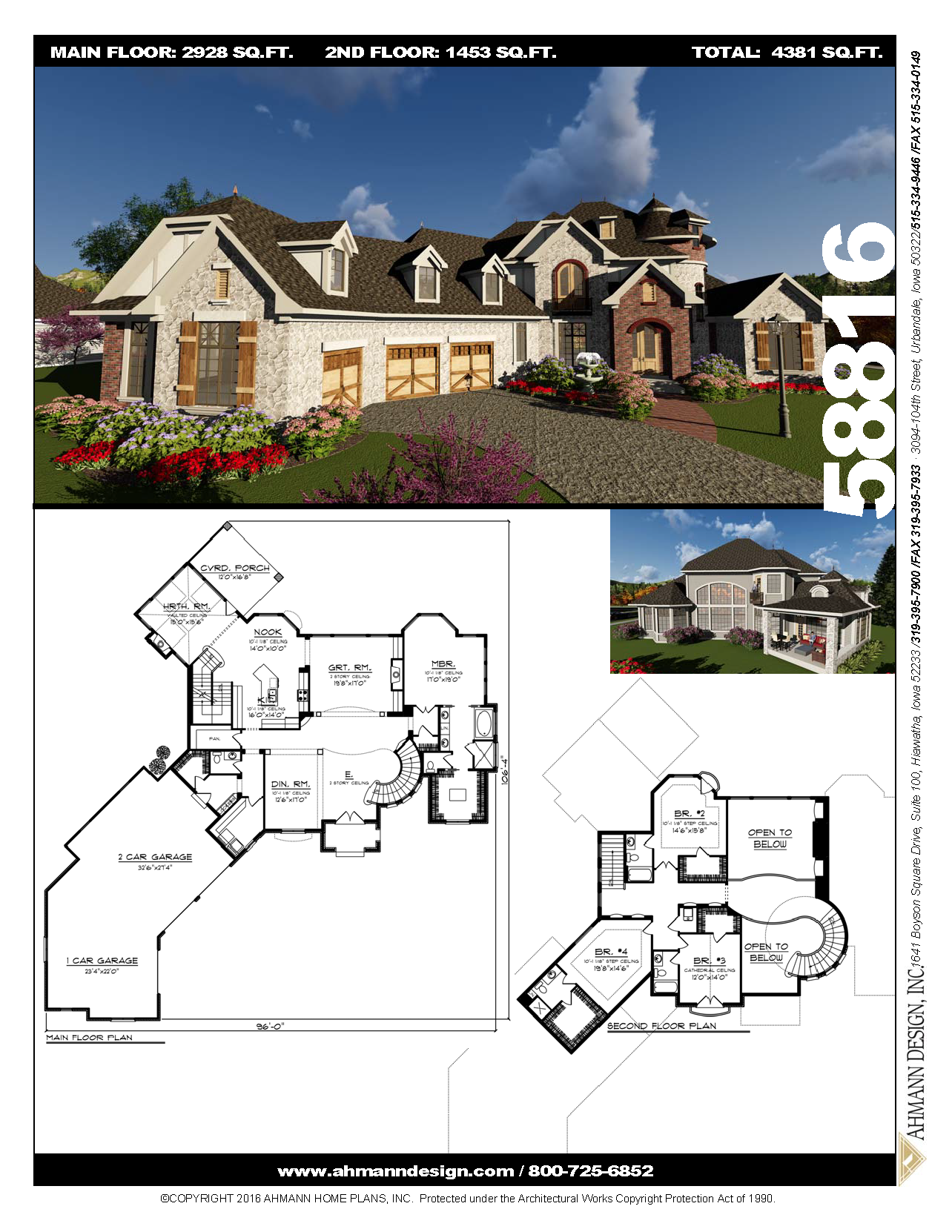 58816 House Plans Hill Country Homes Country House Plans