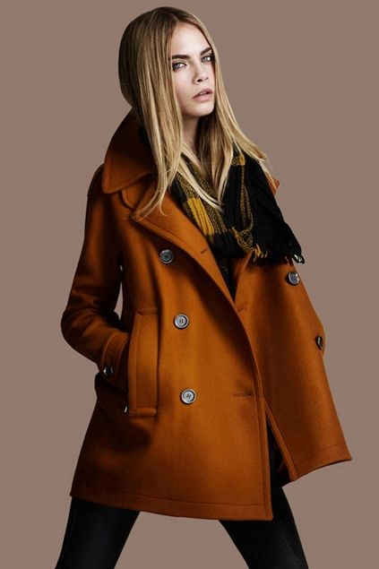 Oberora-Men Fall Winter Thicken Warm Stand Collar Solid Mid Length Trench Pea Coats