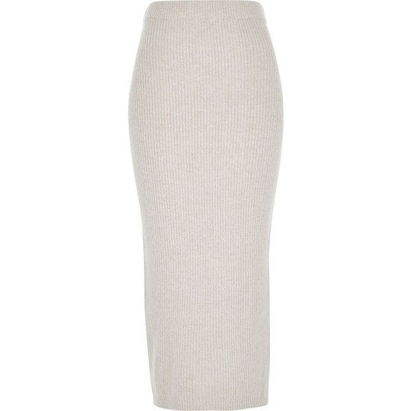 ceb479d744 River Island Oatmeal beige knitted ribbed midi tube skirt ($25) ❤ liked on  Polyvore featuring skirts, bottoms, beige, sale, women, mid calf skirt, ...