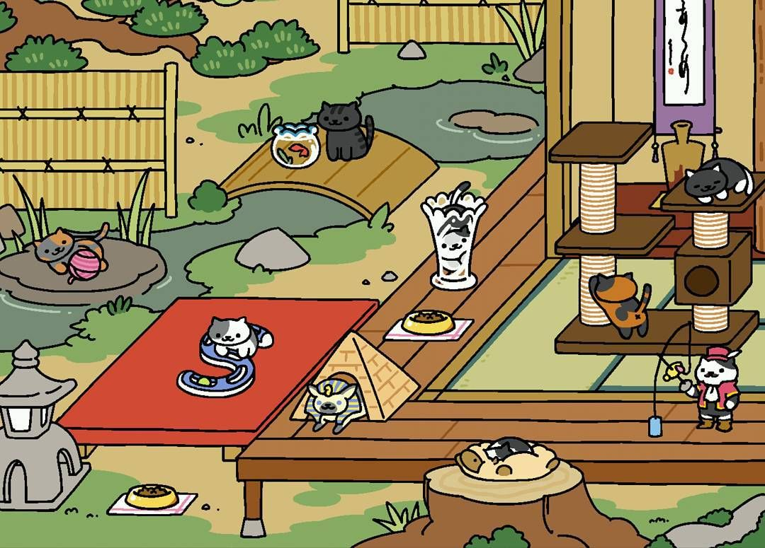 Update on my cat collection on Neko Atsume 😍😍 .