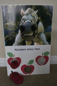 """Rapunzel birthday party with a great Maximus apple toss game and a Flynn """"pan in the face"""" game! Donut tower and great take home ideas."""