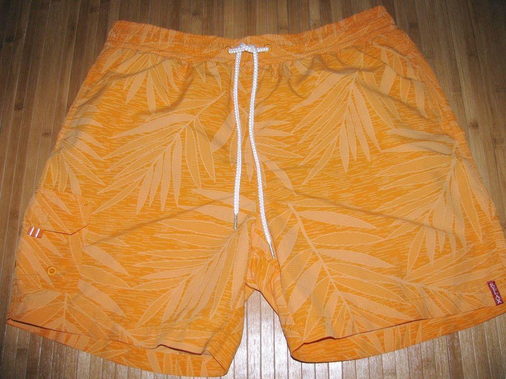 d562a312a7b22 TOMMY BAHAMA Swimsuit TRUNKS Size LARGE Nylon HAWAIIAN Orange with FERN  LEAVES #fashion #clothing