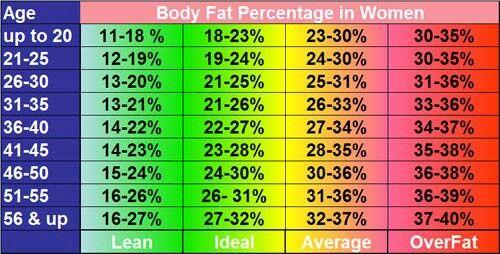 Body Fat Percentage Chart For Women