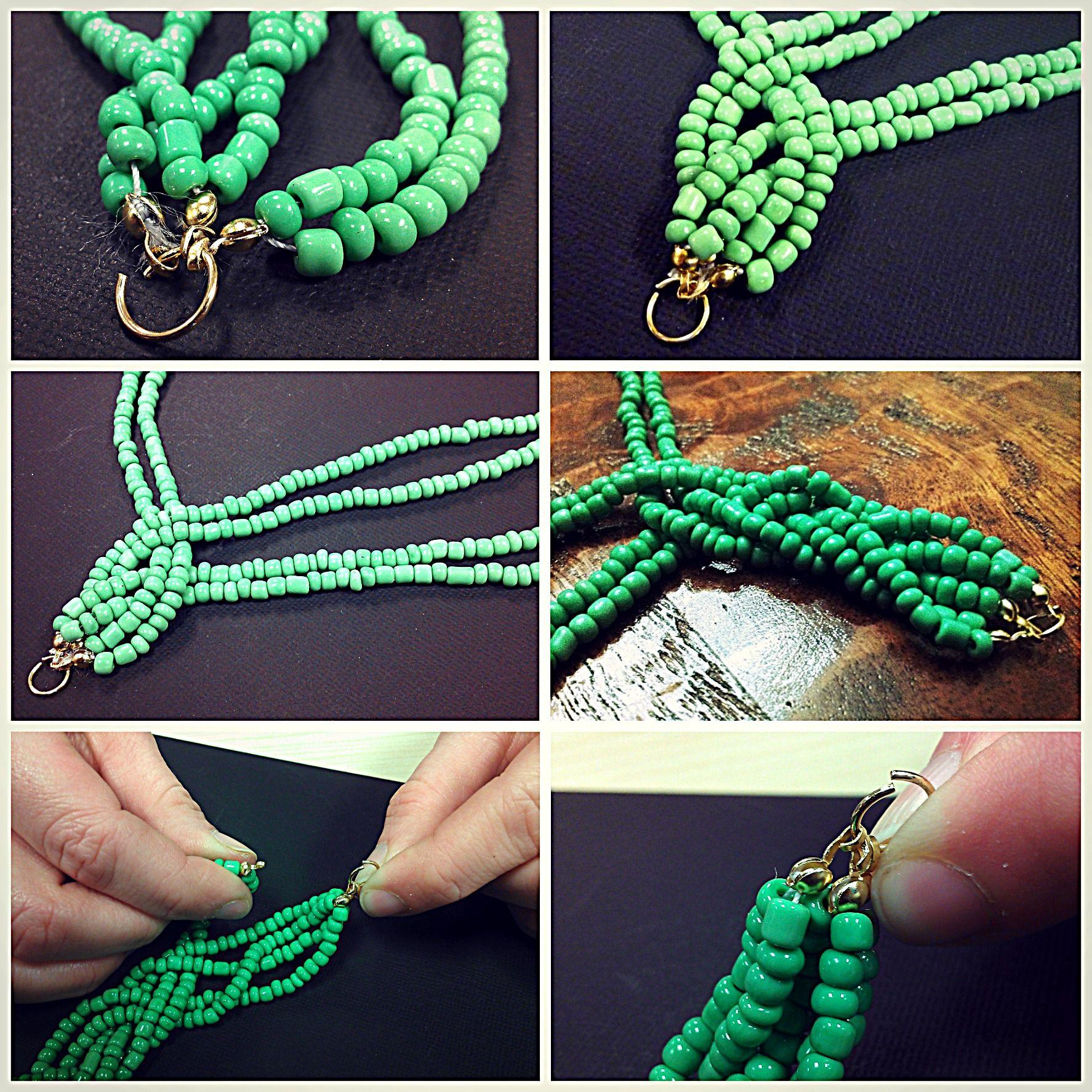 Bead Necklace Diy Braided Bead Strand Tutorial Beaded Jewelry Diy Beaded Necklace Patterns Beaded Necklace Diy