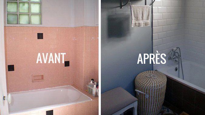 Avant   Après  Rénover une salle de bains dans un style néo-rétro