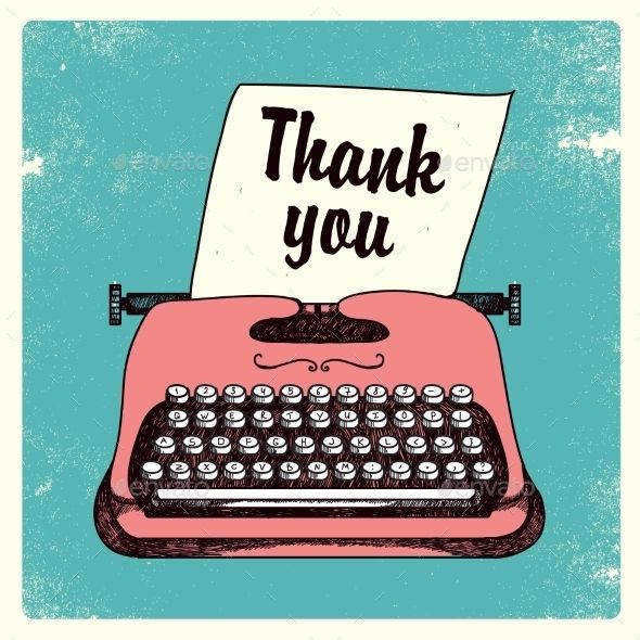 Vector Retro Typing Writer, Thank You Card | Vector Images | Thank