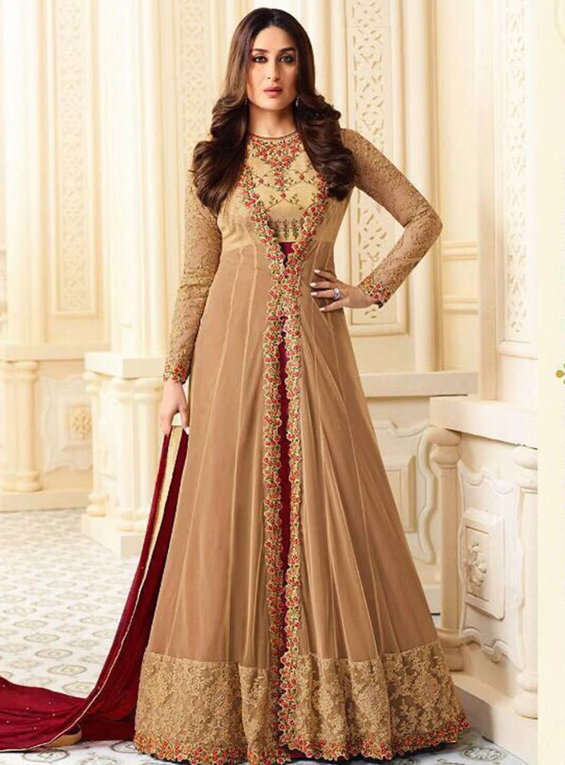 Kareena Kapoor Beige Georgette Jacket Style Long Anarkali ...