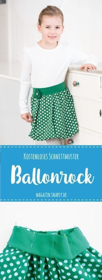 Kostenloses Schnittmuster: Ballonrock für Mädchen nähen #dolldresspatterns