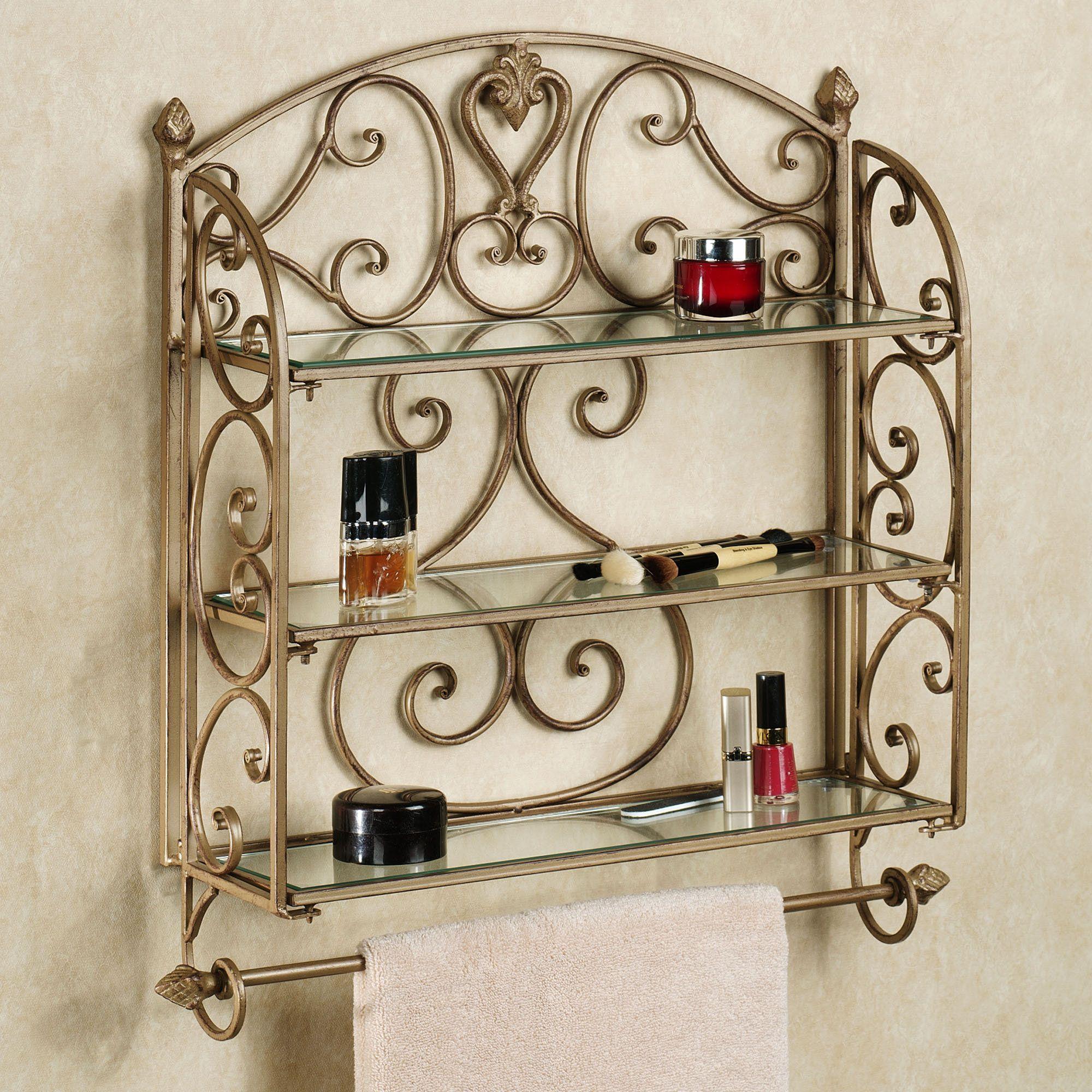Aldabella Satin Gold Wall Shelf Towel Bar | Gold walls, Towels and ...