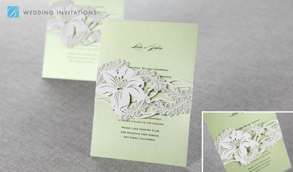 B Wedding Invitations Coupons: Wild Lily Sash Laser Cut By B Wedding Invitations