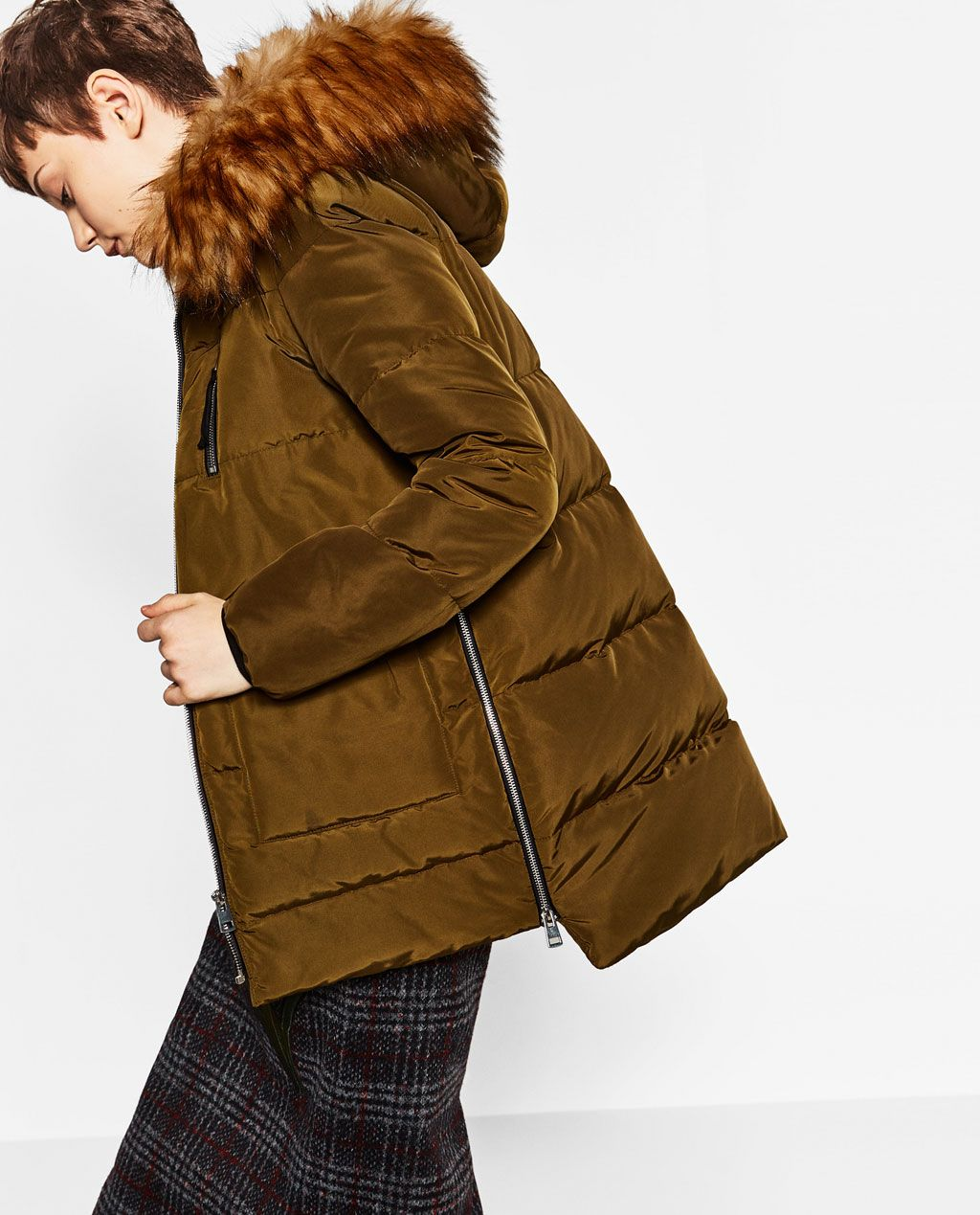 QUILTED FEATHER DOWN COAT WITH FAUX FUR-View all-OUTERWEAR-WOMAN ...