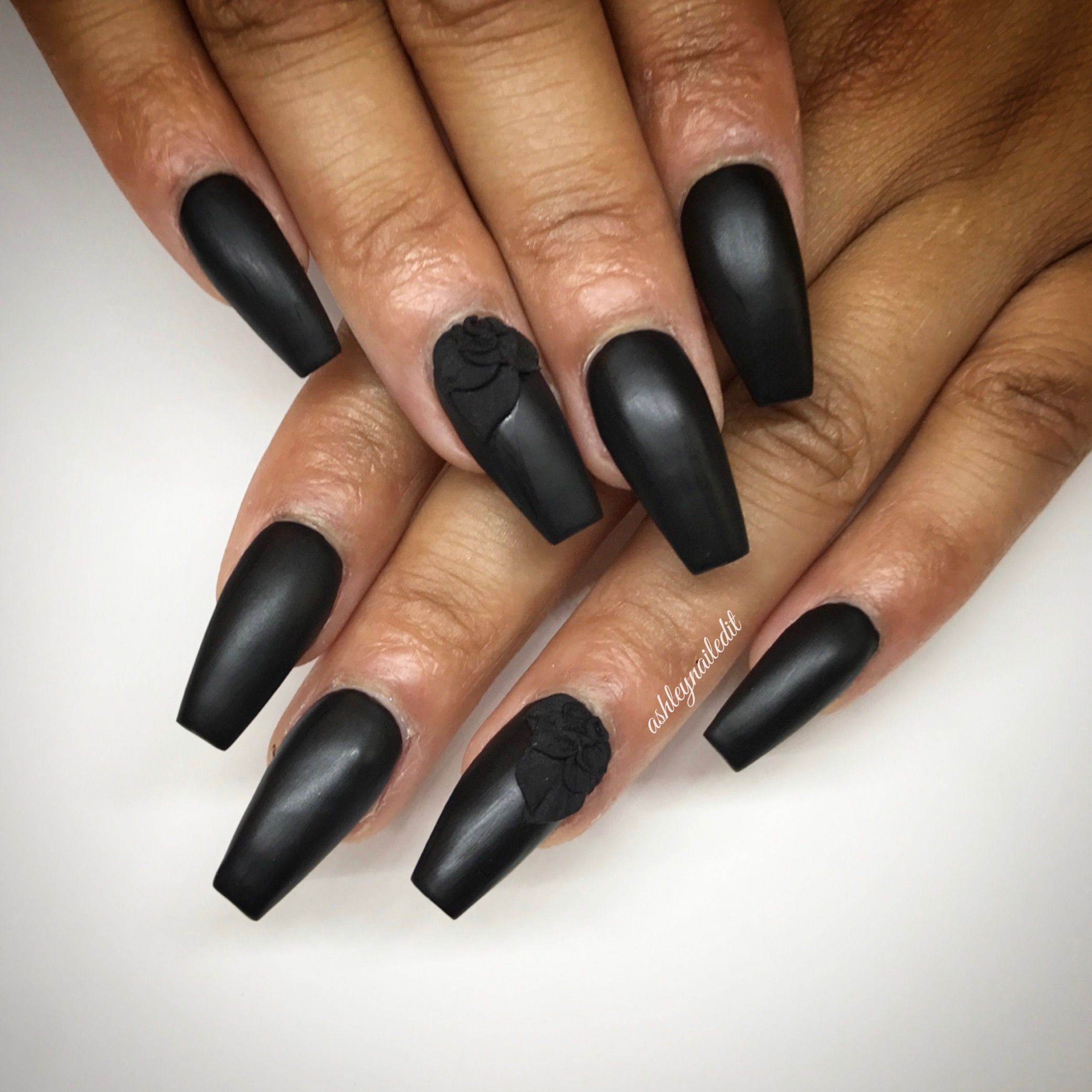Black matte coffin nails with 3d flower coffin nails