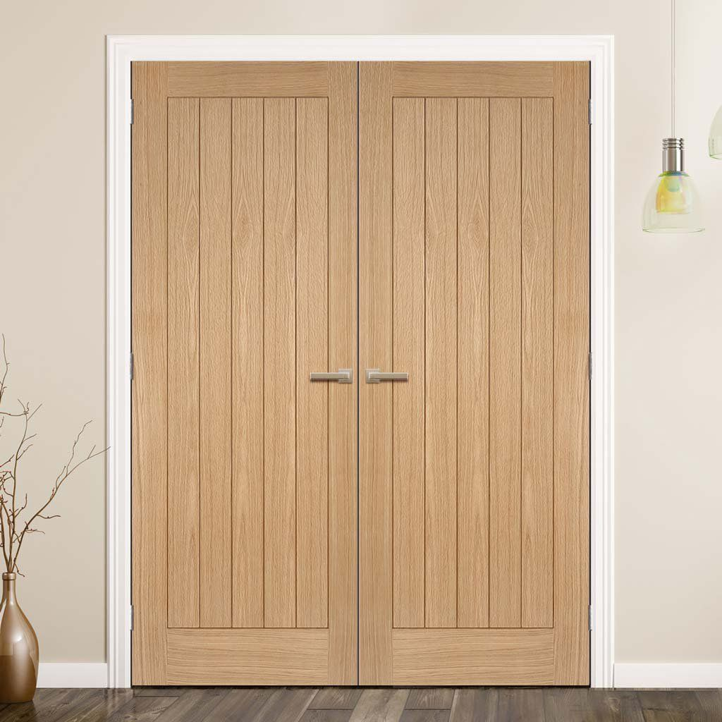 Somerset Oak Flush Panel Door Pair Is Prefinished And 1 2 Hour Fire Rated Lifestyle Image Frenchdoors