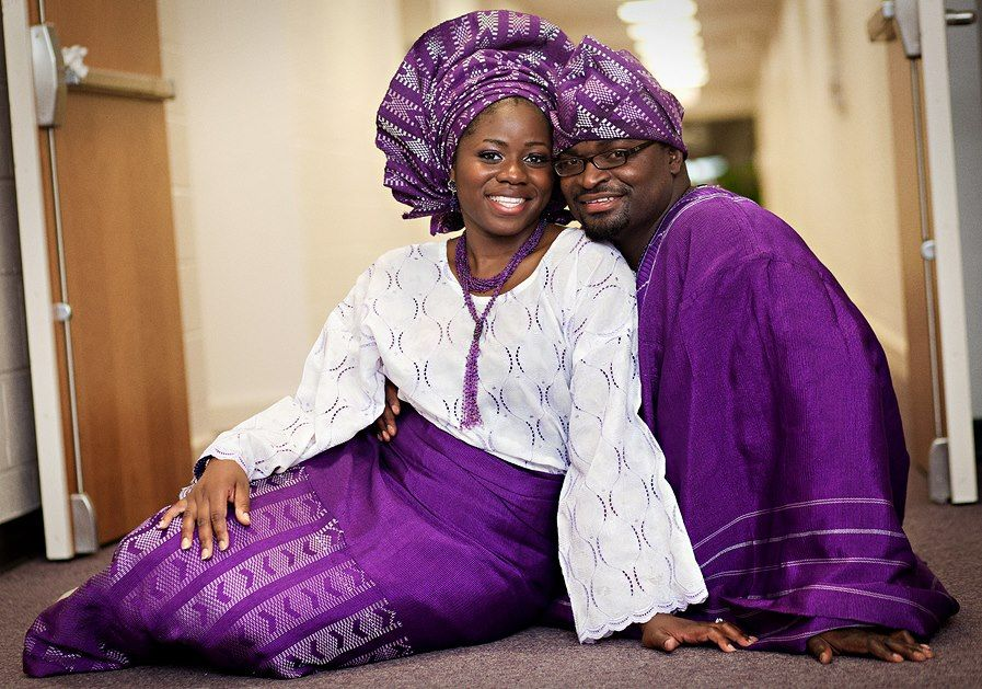 Cheap Black N White Wedding Dresses: Nigerian Bride And Groom In Purple And White Traditional