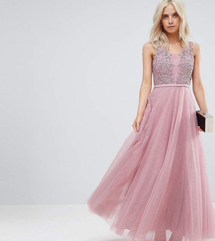 Little Mistress Petite Floral Applique Top Maxi Prom Dress