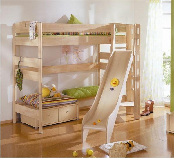 hochbett aus holz für kinder Hochbett mit Rutsche