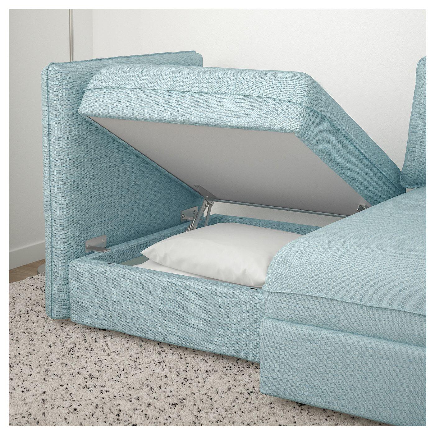 Vallentuna Modular Loveseat With Storage Hillared Light Blue Flexible Furniture Modular Sofa Love Seat