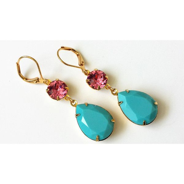 Turquoise Crystal Drop Earrings Swarovski Double Drop Earrings... (€22) ❤ liked on Polyvore featuring jewelry, earrings, rose gold drop earrings, turquoise jewelry, green turquoise jewelry, red gold jewelry and blue turquoise jewelry