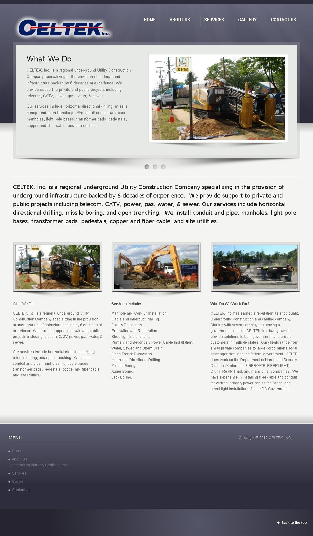 Celtek. Delivers underground utility construction services ...