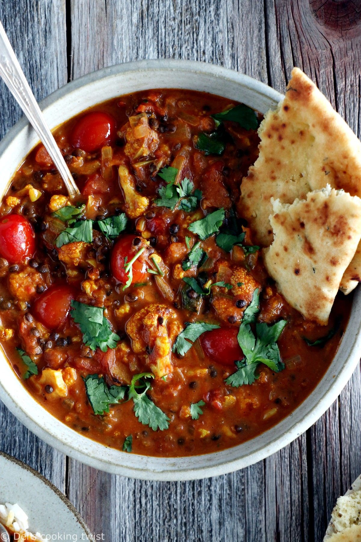 Comforting Cauliflower Lentil Curry. This creamy comforting cauliflower lentil curry is packed with delicious healthy flavors and ready in no time. Vegan and gluten-free, it's the perfect meal for busy days.