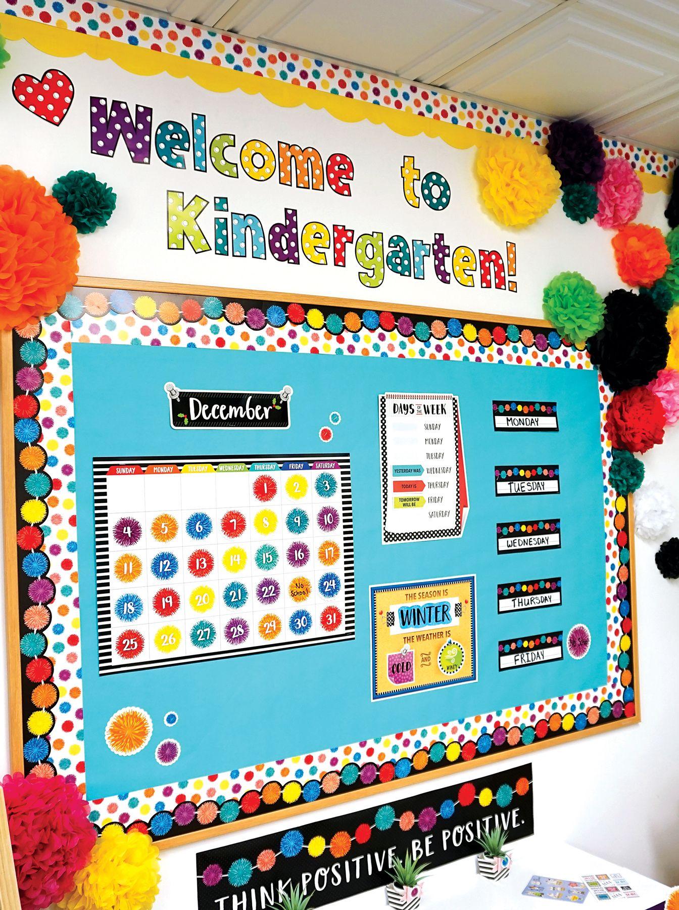 Pom Poms Classroom Bulletin Board Elementary Classroom Decor Bulletin Boards Classroom Decor Kindergarten Bulletin Boards