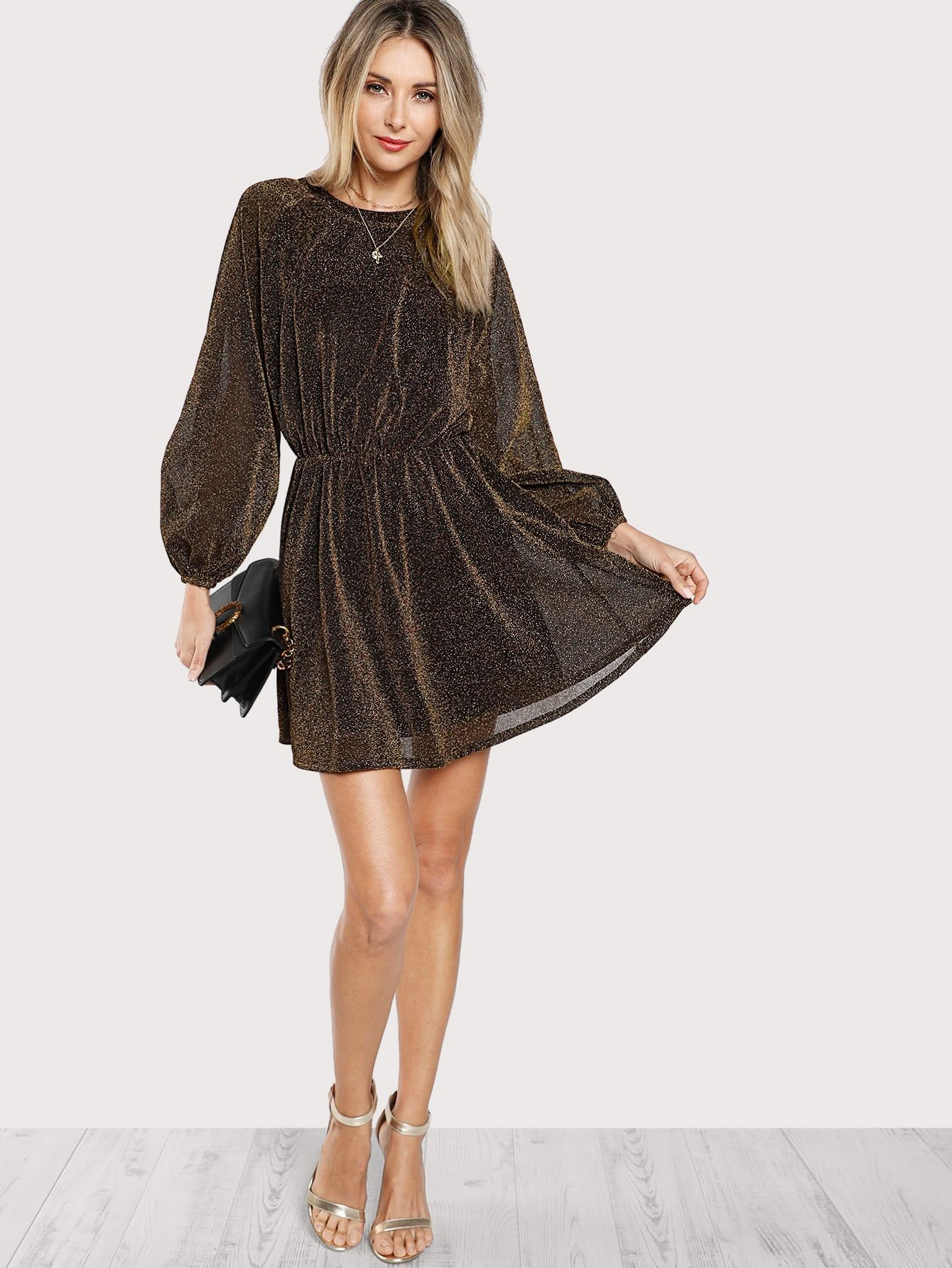 7c05c5c9b Elegant Button Plain Shift Round Neck Long Sleeve Natural Brown Short  Length Bishop Sleeve Transparent Dress with Lining