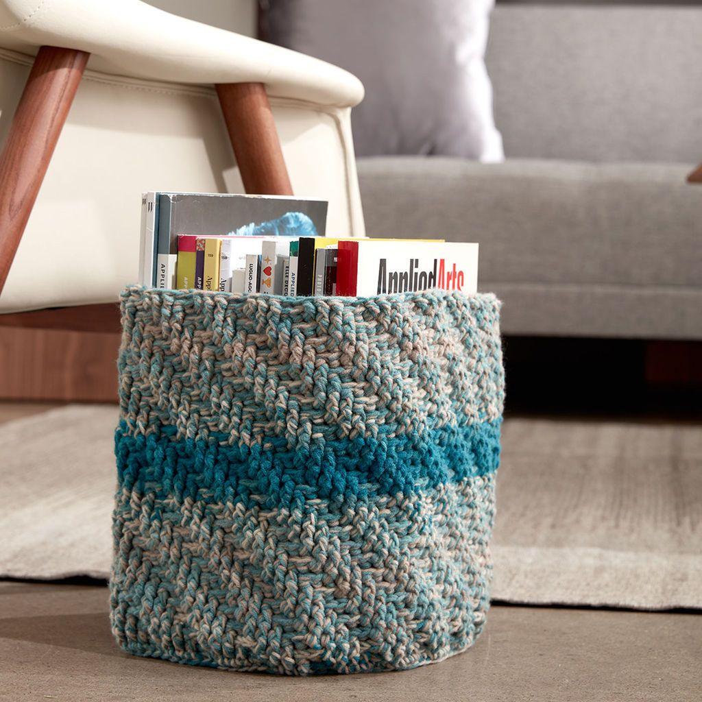 Caron® Big Cakes™ Marled Crochet Basket in Blue Macaron