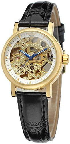 WomensFashion Automatic MechanicalLeather Strap Skeleton Dial Gold Wrist Watches White ** You can find more watch details by visiting the image link.