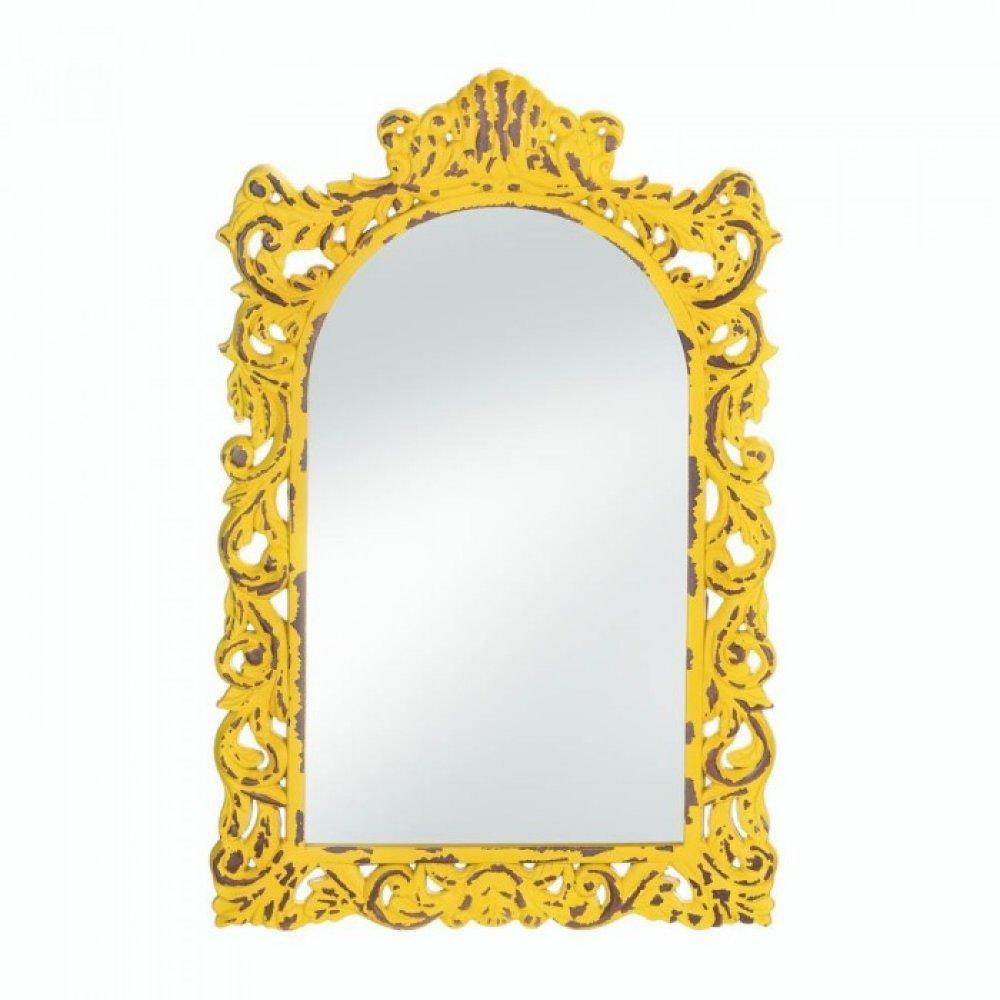 Opulent Distressed Yellow Wall Mirror | Yellow wall mirrors and Products