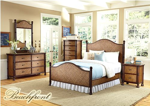Page 4 Rattan Bedroom Furniture Bamboo Bed Set Black Wicker Nightstands