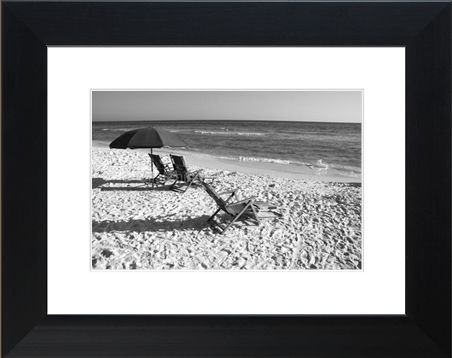 black white framed print of beach chairs in seaside florida decorate your home