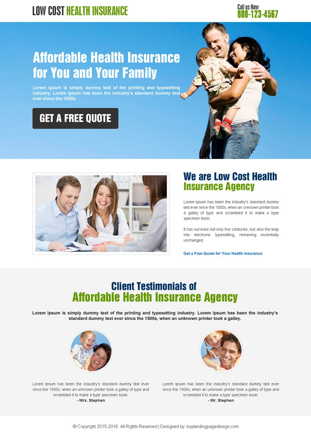 responsive low cost health insurance landing page design ...