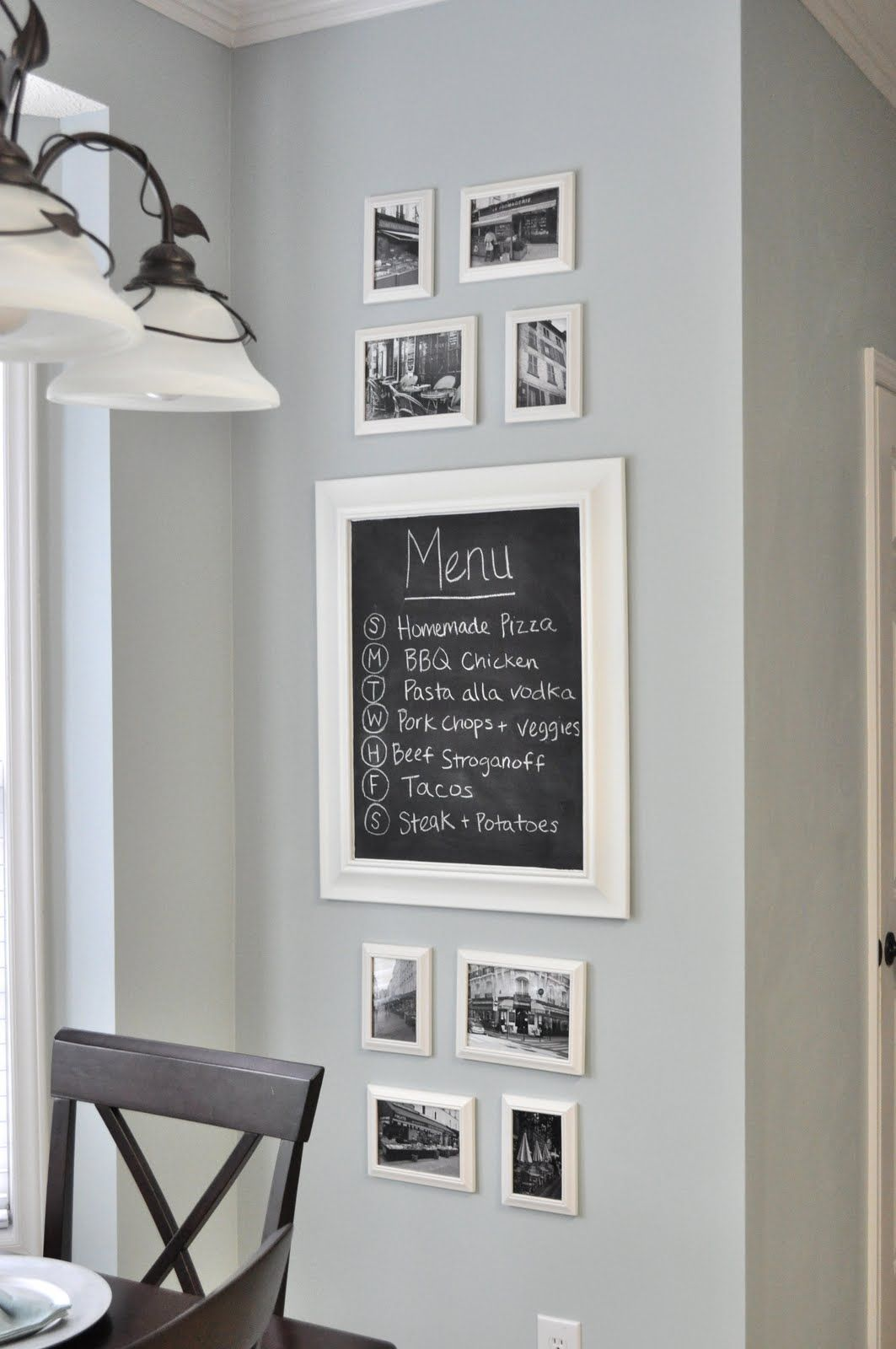 Kitchen Gallery Wall above the stove chalkboard. recipes ...