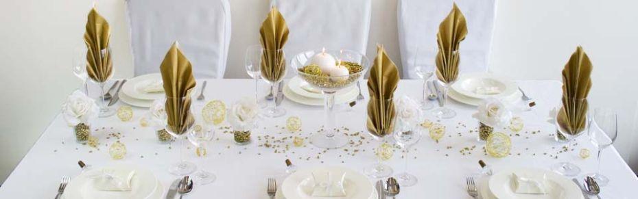 Tischdeko Klassik Gold bei Meine-Hochzeitsdeko.de